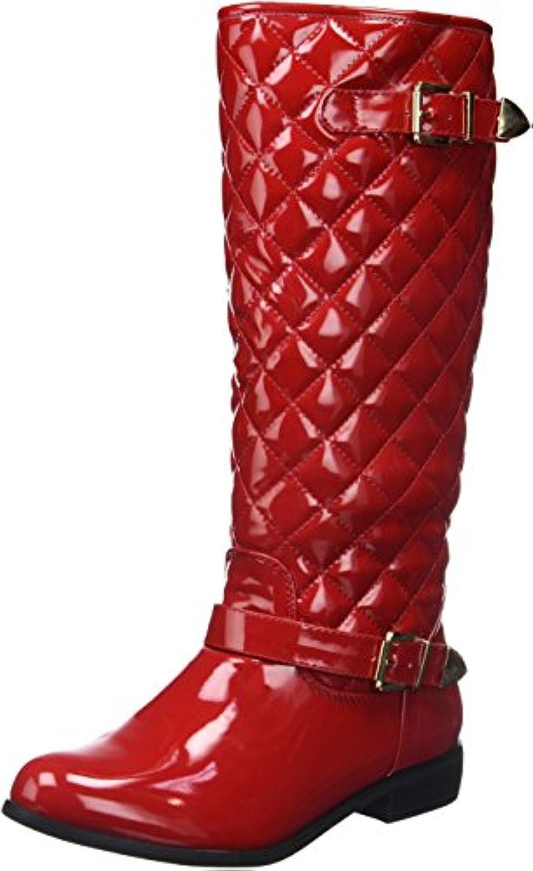 Botas rojo relleno de esmaltado mujeres acolchadas Tacon 2.5cm