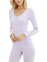 Mujer Nuevo Conjunto térmico Invierno Chaqueta+Pantalones Larga Ropa Interior Conjunto de Pijama