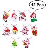 12pcs Flashing Pendant Necklace LED Luminescent Pendants For Kids Toys Silicone Pendants Christmas Rope Necklace Pendants (Mixed Style)