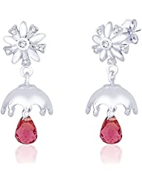 Taraash CZ and Pink Bead Floral Sterling Silver Earring for Girls