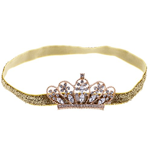 MagiDeal Baby Girls Newborn Princess Shower Party Photo Props Headwear Cute Crown Elastic Headband Gold  available at amazon for Rs.435