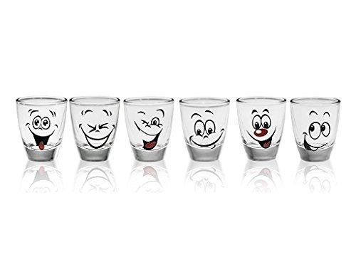 6 Schnapsgläser mit Motiv Tequilagläser Schnaps Shots Stamper Wodkagläser Humor