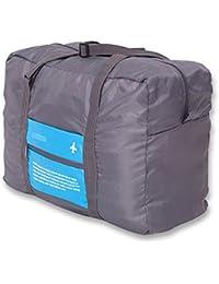 Saco de viaje plegable con un estuche para guardar, equipaje de mano plegable compacto, volumen de 30 l, color azul y gris