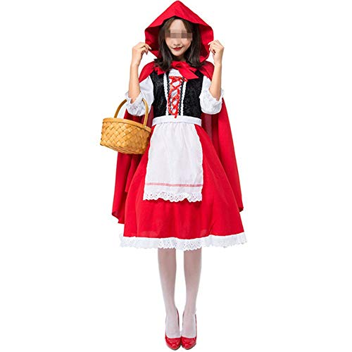 HoGau Spezieller Entwurf Persönlichkeit Halloween Kleid Frauen Kurzen Ärmeln Casual A-Linie Halloween Kleid Kleid Party Cosplay Kleider (Color : Red, Size : S)