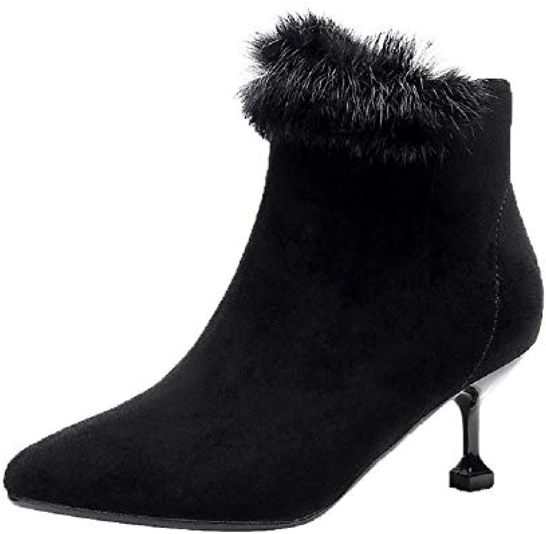 Fuxitoggo Bottes à Talons Chaton, Chaussures Femmes Noires, Grandes Chaussures Chaton, zippées en Daim (coloré : Noir, Taille : EU... 1e788c
