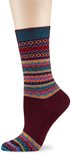Burlington Damen Socken Fair Isle, Mehrfarbig (Merlot 8005), 36/41