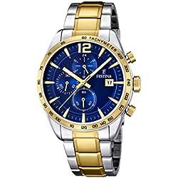 University Sports Press F16761/2 - Reloj de Cuarzo para Hombre, con Correa de Acero Inoxidable Chapado, Color
