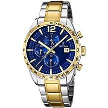 University Sports Press  F16761/2 - Reloj de cuarzo para hombre, con correa de acero inoxidable chapado, color multicolor