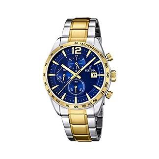 University Sports Press F16761/2 – Reloj de Cuarzo para Hombre, con Correa de Acero Inoxidable Chapado, Color