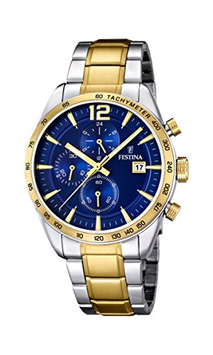University Sports Press F16761/2 - Reloj de cuarzo para hombre, con correa de acero inoxidable chapado, color