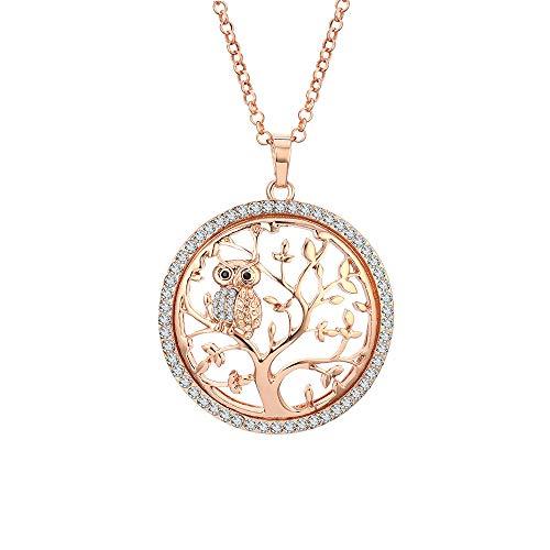 Collar de moda para mujer, Árbol de la vida con collar colgante de búho con collar de cadena larga de cristal oro rosa