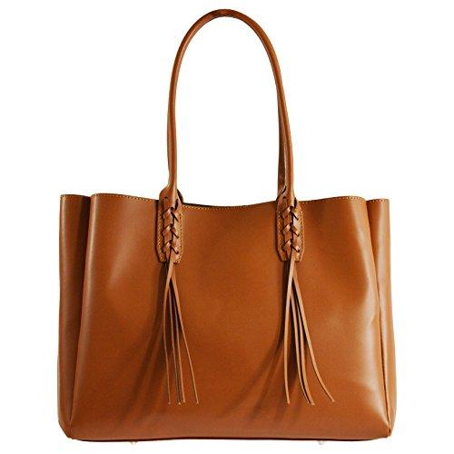 CTM Élégant sac à main de la femme dans cuir véritable italien 39x28x13 Cm