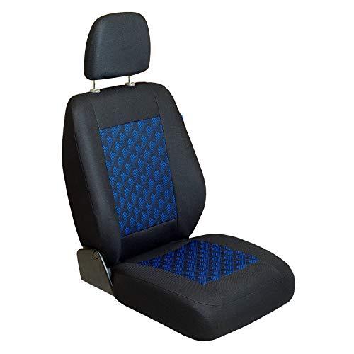Zakschneider Coprisedile per Opel Movano - Coprisedile Anteriore Sedile del Conducente - Colore Premium Nero con Un Effetto 3D Blu