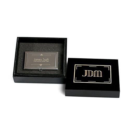 sierbar Edelstahl Visitenkartenhalter in Geschenk-Box–hinzufügen einen Namen, Logo oder erstellen ein Design von Wahl–Beste Geschenk Idee für Executive, Profis oder kunden als firmenpräsenten oder Werbematerial, With Custom Presentation Box (Promotion Card-boxen)