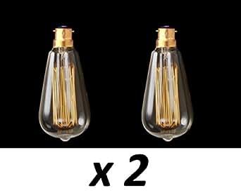 Pendantlighting MLL006 Lot de 2 ampoules à filament style cage d'écureuil vintage Edison