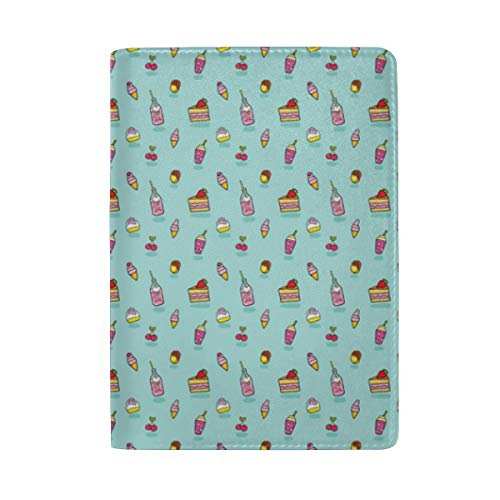 Yum Yum Cake Soda Cookie Ice Cream Design Sweets Cartoon Pattern Passport Holder Wallet Cover Case Leather Travel Wallet ID Card Case