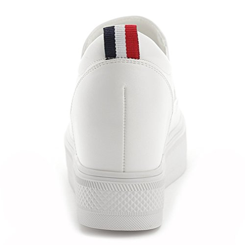 Wedge Kurzschaft Stiefel Damen Sneaker Keilabsatz Stiefeletten Weiß