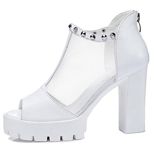 Pumps Damen Aufzug High Heels Plateau Blockabsatz Offene Zehen Mesh Niet Reißverschluss Sandalstiefeln Weiß