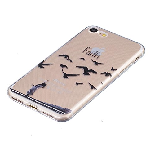 iPhone 7 Silikon Hülle iPhone 7 Case - Felfy Ultra Slim Weicher Gel Flexible TPU Transparent Case Schutzhülle Silikon Ultradünne Hülle Retro Farbe Blumen-Totems Muster Schutz Scratch-Resistant Handy H Glauben