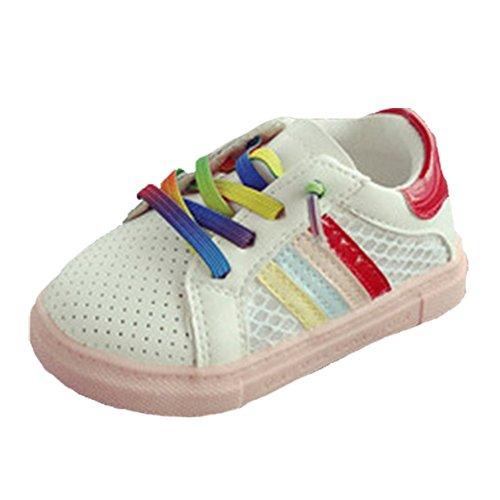 Ohmais Enfants Chaussure bebe fille premier pas Chaussure premier pas bébé sandale en cuir souple Rouge