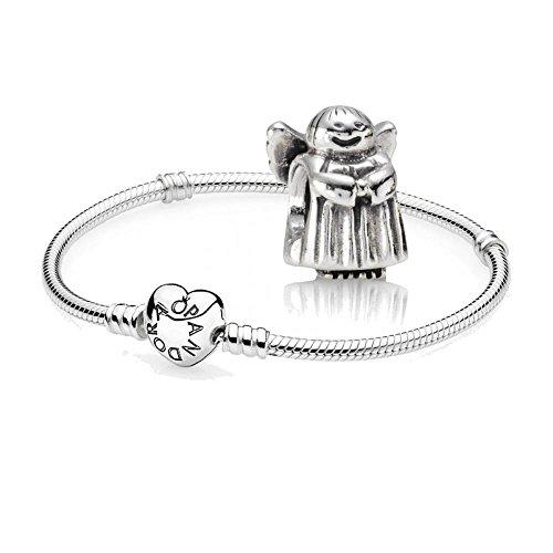 Original-Pandora-Geschenkset-1-Silber-Armband-mit-Herz-Schliee-590719-und-1-Silber-Charm-Engel-790337