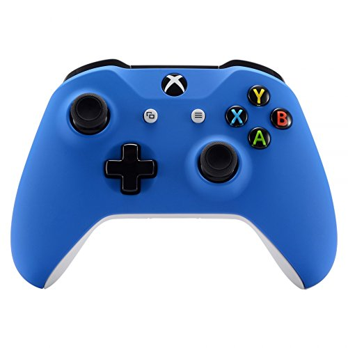 Soft Touch Blue Front Housing Shell Case, Comfortable Replacement Kit Faceplate Cover for Microsoft Xbox One S & Xbox One X Controller -