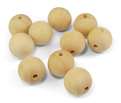 ❤️HobbyHerz 10x 25mm Holzperlen Holzkugeln Natur Perlen aus Holz mit Loch zum Auffädeln + Basteln | Schmuck selber Machen