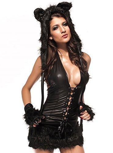 Deluxe Kostüm Schwarze Katze - Damen 5 Stück Deluxe schwarz Pelz Katze Tier Halloween Kostüm Outfit