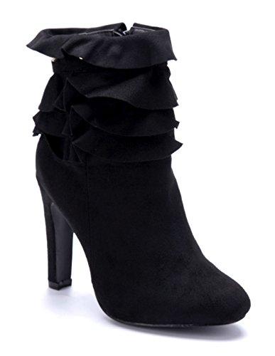 Schuhtempel24 Damen Schuhe Klassische Stiefeletten Stiefel Boots schwarz Stiletto Nieten 10 cm High Heels
