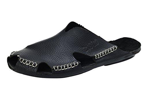 Insun Herren Sandalen Slingback Normal Flach Nein Peep-Toe Sandaletten Schwarz