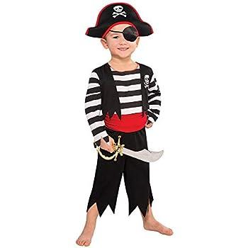 Benda per locchio e Fascia - Indicato per Bambini dai 7 ai 10 Anni Cintura 149 Nero//Rosso//Bianco Taglia L Pantaloni Vestito Pirata da 5 Pezzi: Abito Tante Tina Costume da Pirata da Bimbo