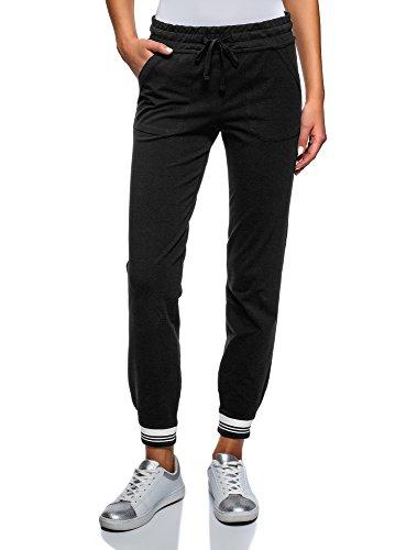 Oodji ultra donna pantaloni sportivi con laccetti, nero, it 44 / eu 40 / m
