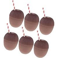 Sharplace 6 Pedazos Vasos de Beber Forma de Coco con Pajitas Estilo Hawaiano Accesorio de Piscina de Fiesta de Playa de Verano