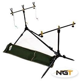 NGT Support pour canne à pêche à la carpe avec 2détecteurs de touche noirs avec contrôle de volume et 3indicateurs balanciers