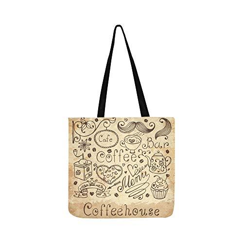 ente Design Menü Vintage Leinwand Tote Handtasche Schultertasche Crossbody Taschen Geldbörsen für Männer und Frauen Einkaufstasche ()