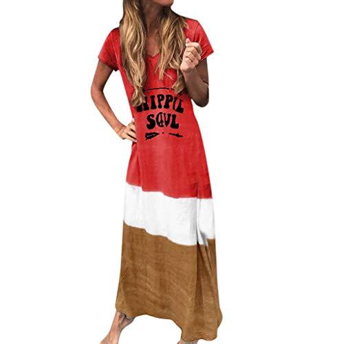 Fenverk Damen Sommerkleid Ohne Kurzarm Knielang Strandkleid Elegant Partykleid Cocktailkleid Druck A-Linie Kleider Casual TräGerkleid Lose T-Shirt Kleid S-5XL(B rot,XXL)