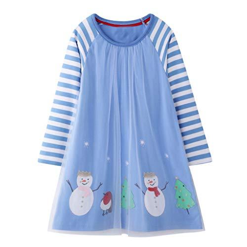 Kleid Mädchen Langarmkleid Kinder Herbst Skaterkleid A-Linie Freizeit Kleid Kleinkind Stripes Prinzessin Mesh Kleid Weihnachten Schneemann Kleid Rundhals Freizeitkleidung -