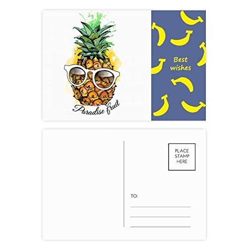 Sonnenbrille Ananas Tropische Frucht Banana Postkarten-Set Dankeskarte Versandseite 20 Stück