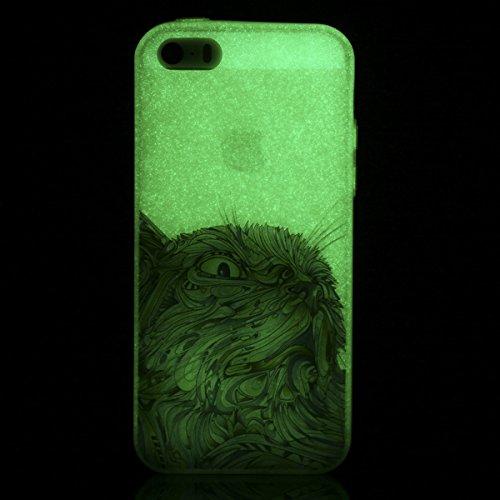 BONROY® Schutzhülle für iPhone SE 5S 5 ,Stilvoll Nachtleuchtende Luminous Ultra Schlank Flexibel Weiche TPU Zurück Hülle Silikon Hintere Schale Bumper Gel Schutzhülle Cover Case für iPhone SE 5S 5 Wasserfarbe Katze
