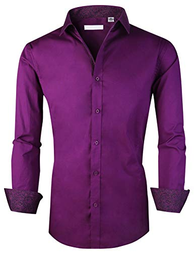 Esabel.C Herren Hemd Langarm Regular Fit Business Casual Button Down Shirts - Violett - Groß -