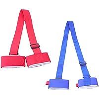 VORCOOL Portador de Hombro de esquí, Correas de Las manijas de Las Correas Porteador Ajustable, Correa de esquí, Paquete de 2 (Rojo y Azul)
