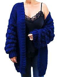 beda5098e741cf Marimo24 Blogger Style Damen Cardigan Pompom Strickjacke Bommel Grobstrick  Herbst Winter OneSize Oversize XS…