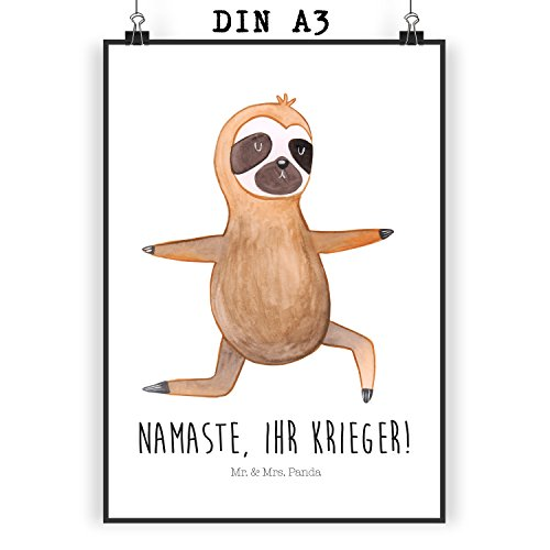Mr. & Mrs. Panda Poster DIN A3 Faultier Yoga - 100% handmade in Norddeutschland - Faultier, Faultiere, faul, Lieblingstier, Yoga, Namaste, Krieger,...