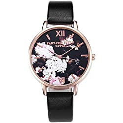 JSDDE Fashion Women Girls Watches Black Dial Flowers And Butterfly Rose Gold Case With PU Leather Strap - Black
