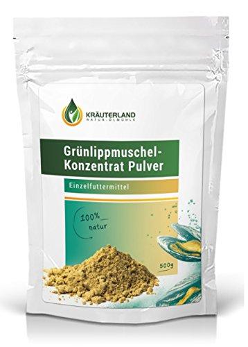 Kräuterland Grünlippmuschelpulver für Hunde, Katzen und Pferde, 100% pur und rein, ab 250g, 500g, 1000g, deutsche Premiumqualität (500g) - Therapie Salz Natürliche