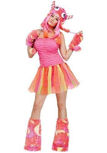 Damen Sexy 4 Stück Rosa oder Grün Halloween Monster Rave Kostüm Kleid Outfit - Rosa, 10-12