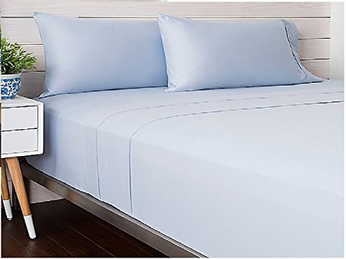 Livingston Home Solide Satin tc-300 Baumwolle King-Bettlaken-Set, Blau, blau, King Size