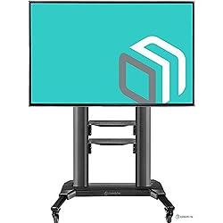 ONKRON TS27-71 Support TV sur Pied A roulettes pour des Televiseurs LED OLED Plasma De 42 A 80 Pouce Noir