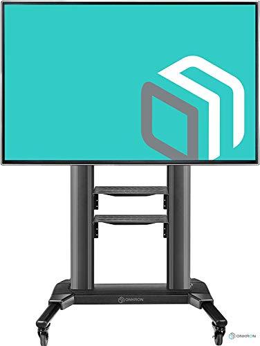 """ONKRON TV Mobil Ständer Höhenverstellbar für 42\"""" - 80\"""" Zoll LCD LED OLED 4K 8K Plasma Bildschirme Rollbar TV-Standfuss Fernsehständer mit AV-Ablagen VESA 200x200 bis 700x400 mm TS2771 Schwarz"""