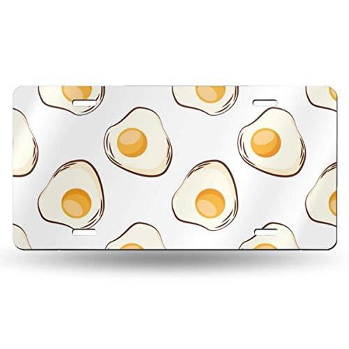 Ganheuze Eggs Fried Breakfast Food 612inchs Feel Metal Tin Sign Plaque for Home,Bathroom and Bar Wall Decor Car Vehicle License Plate Souvenir Car Decoration